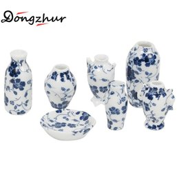 Wholesale Miniature Vases - Wholesale- Dongzhur Dollhouse Miniatures 1:12 Accessories Vase DIY Handmade Doll House Mini Ceramic Decoration Accessories 7 Pcs Vase Set