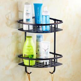 Wholesale Metal Racks Baskets - Free shipping New designed European style luxury brass black bathroom rack shelf triangle basket bathroom shelf
