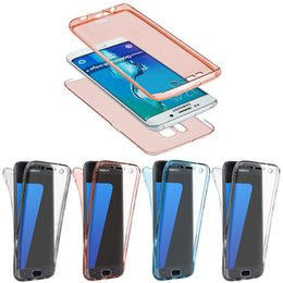 Wholesale body flexible - Phone Cases Transparent TPU Silicone Flexible Soft 360 full Body Protective Clear For Samsung Galaxy S6 S7 Edge S8 Plus Case 5 Colors