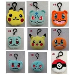 Wholesale Pokemon Plush Bag - Poke Plush toys Pikachu Elf Ball keychain Pikachu Elf Pokeball Go Keychains Toys Doll PPCotton 2017 Toy Mobile Bag 6cm For Christmas Gifts