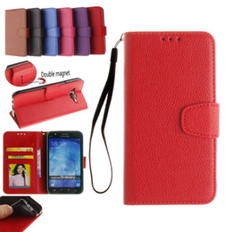 Wholesale Leather Case Galaxy Core - Litchi Leather Case for galaxy core prime G360 ACE4 J1 J5 J7 A3 A5 A7 2016 Wallet Case With Card Slot photo frame