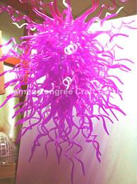 Plafón rosa online-C43-Wedding Decor Pink Blown Glass Chandelier Light Diseñador moderno LED Colgante Chandelier Luxury Pink Chandelier Lámpara de techo