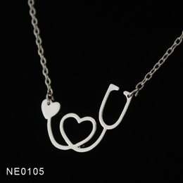Wholesale Necklace Chain Body - Drop shipping - Fashion 18K Gold Rose Gold Silver Plated Medical Stethoscope Heart Collar Body Chain Necklace Jewelry Gift for Nurse Doctor