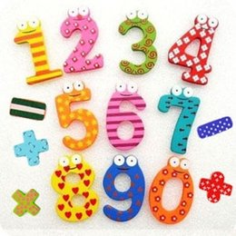 Wholesale Toy Refrigerator Magnets For Kids - ETH017 Creative Gift Set 15 Number Wooden Fridge Magnet Education Learn Cute Kid Baby Toy Worldwide Free Shipping