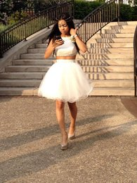 Wholesale Short White Satin Dresses - 2016 Cheap Two Piece Black Girl Prom Dresses under 100 Short Ivory Organza Backless Homecoming Party Gowns New Arrival