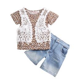 Menina de shorts de leopardo on-line-2017 novas crianças roupas meninas algodão rendas Leopard T-shirt + shorts jeans 2 pçs / set bebê ternos C2248