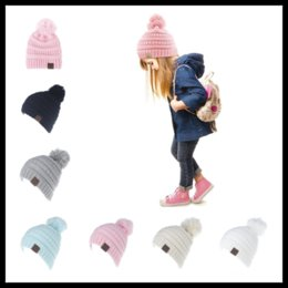 Wholesale Ear Domes - Winter Warm 6 Colors CC Label Beanies Kids Girls Knitted Skull Caps Baby Hats Ear Warmer