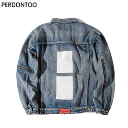 Wholesale Men Casual Clothing China - Wholesale- 424 Retro Destroyed washing with Zipper Denim Jacket To Do the old black blue Hiphop clothing Jean Men jackets China size M-2XL