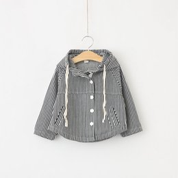 Wholesale wholesale canvas coats - Children Clothing Girls Boys Outerwear Baby Jacket Striped Hooded Zipper Shirt Toddler Kids Jackets Coat Fashion Tops Baby Clothes Autumn