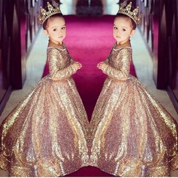 Wholesale Bling White Girl Dresses - Bling Gold Sequins Girls Pageant Dresses Formal Party Gowns Vintage Long Sleeves 2018 Flower Girl Dresses Princess Long Kids Birthday Party