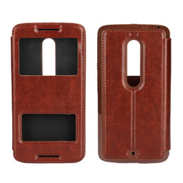Wholesale Huawei Ascend X - View Open Window Wallet Leather Case For MOTO G3 X Play Huawei Ascend P8 Lite Nexus 6P Caller ID Pouch Display Crazy Horse Stand TPU Luxury