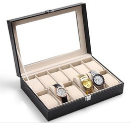 Wholesale Glass Modern - NEW 12-Grid Glass Watch Box Large Mens Black Pu Leather Display Glass Top Jewelry Case Organizer Storage Box