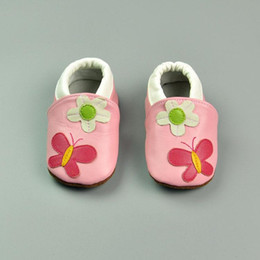 Wholesale Butterfly Shoes For Kids - 2015 Wholesale Pink leather baby shoes First Walker with flower butterfly pattern for kids girl free shipping