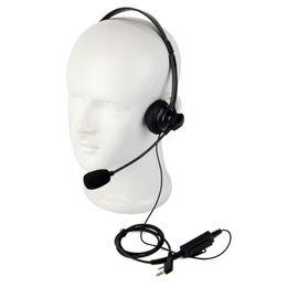 Wholesale Kenwood Radio Mic -  Black 2 Pin Headphone Headsets with Swivel Boom Mic for Kenwood Baofeng Retevis TYT Two Way Radios C2191A