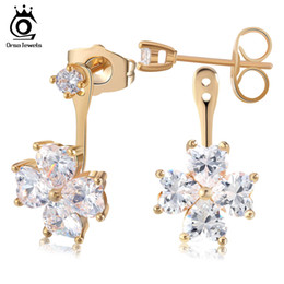 Wholesale Heart Shape Crystal Earrings - New Brand Design Retro Exquisite Women Earring Acrylic Flower Shape Crystal Cubic Zircon Stud Earrings OME25