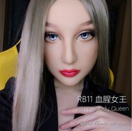 Wholesale Make Sexy Doll - Luxury Custom Bloody Queen Makeup With DMS Mask Rose! Silicone Sexy Female Crossdress Half Face Mask Corssdresser Doll With Wig