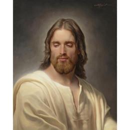 Pinturas a óleo christ on-line-Figura pinturas a óleo Cristo Retrato O Ungido Um Handmade Joseph Brickey arte da lona sala de estar decoração