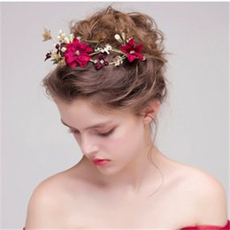 Wholesale Golden Hair Band - New Wedding Bridal Handmade Red Flowers Golden Butterfly Pearl Hair band Simple Wreath Headdress Hair Jewelry Accessories 2018
