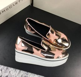 Wholesale Usa Patents - Stella Mccartney Shoes Stars Metallic Leather Platform Sneakers Slip-on Thick Bottom Hot Sale In Usa