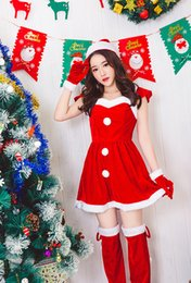 Wholesale Leather Rosette - Cheap Christmas Costume For Adult Christmas Cosplay Hat Dress Belt Suit Women Christmas Dress Sweet Miss Santa Costume 2017