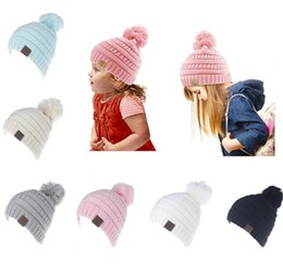 Wholesale Beanie Hat Children - Children CC Beanie Christmas Knitted Hats With Ball top 6 colors Winter Chunky Crochet Outdoor hat 2017 Pink Black beige Fedex