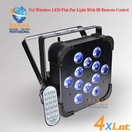 Wholesale Dmx Led Par Wireless - 4X LOT Rasha Hex 12pcs*18W 6in1 RGBAW UV Wireless LED Flat Par Light for Event Party