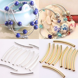 Wholesale Beads Connectors Tubes - Silver Gold Nickel Smooth Curved Tube Connector Charm Beads Jewelry Finding For DIY Jewelry Making Bracelets