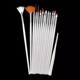 Wholesale Uv Gel Nail Care - 15pcs Professional Nail Art Tools Acrylic Nail Brush Set White Handle Polish UV Gel DIY Designs Manicure Care Pen