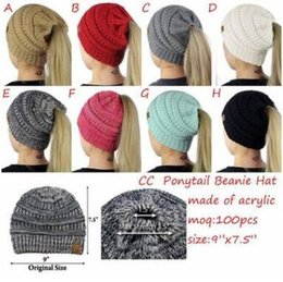 Wholesale Wholesale Fitted - 8 Colors Women CC Ponytail Caps CC Knitted Beanie Fashion Girls Winter Warm Hat Back Hole Pony Tail Autumn Casual Beanies CCA7235 20pcs