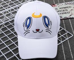 Wholesale Japan Cartoon Costume - Wholesale-2016 Sailor Moon Peaked Cap Baseball Cap Sunhat Cosplay Japan Anime Hat Cartoon White HAT