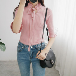 Wholesale Ladies Tops Butterfly Sleeve - Wholesale- 2017 New Preppy Style Women Wool sweater pullover Half Sleeve basic Tops Ladies slim Knitting Bow Tee Shirts Pull femme 1373