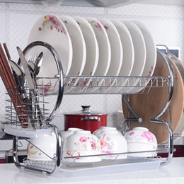 Wholesale Stainless Steel Kitchen Cutlery - Homestyle 2 Tiers Stainless Steel Dish Rack Kitchen Cup Drying Rack Drainer Dryer Tray Cutlery Holder Organizer