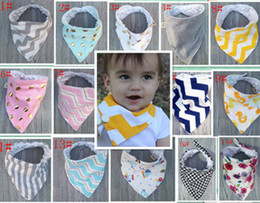 Wholesale Houndstooth Print Tie - 17 Styles Baby Bibs 100%Cotton Dot Chevron Bandana Bibs Infant Babador Saliva Bavoir Towel Baberos For Newborn Baby Girls Boys