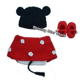 Wholesale Crochet Outfits For Boys - 4PCS Newborn Baby Boy & Girl Crochet Knit Minie Costume Photo Props Outfits for 0-12 Months Infant Baby