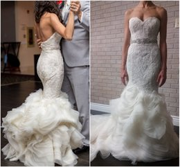Wholesale Ruched Mermaid Wedding Gowns - Ruched Mermaid Wedding Dress Lace 2016 Sweetheart Backless Long Train Cascading Ruffles Bridal Gowns with Detachable Beads Belt Modern Bride