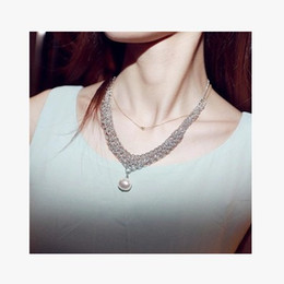 Wholesale Evening Party Collar Necklaces - Drop Pearl Silver Necklace Exquisite Crystal Gem luxurious Evening Dress Party Stage Bib Statement Necklace Jewelry for Women Collar Choker