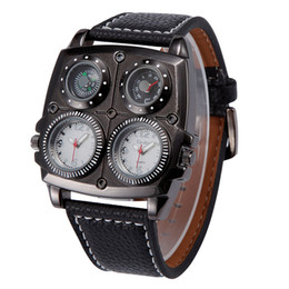 Wholesale Watch Time Compass Thermometer - Branded watches oulm 1140 Japan Quartz movement compass thermometer decorate Military Army Sport WristWatch mens cheap watches online