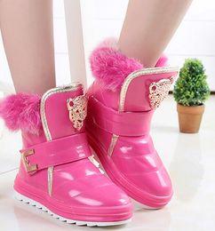 Wholesale Leopard Children Boot - 2016 new autumn winter children boots boys girls unisex kids shoes PU leather solid color fashion boots with fur leopard