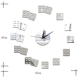Wholesale Decorative Art Wall Clock - Living Room Decorative Wall Sticker Clock DIY Acrylic Mirror Wall Clock Mahjong Boson Creative Gift Art Watch Free Shipping
