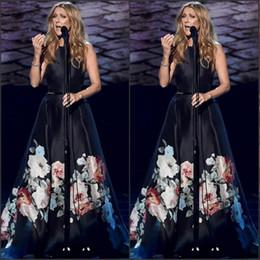 Wholesale Fashion Show Fall - 2016 Petal Power Print Evening Dresses A-line Jewel Sleeveless Paris Show Belt Celebrity Gowns in Black