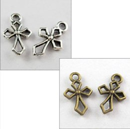 Wholesale Tiny Silver Beads - Vintage Silvers  Bronze Tiny Cross Charms Crucifix Pendant For Bracelet Necklace Fashion Jewelry Making DIY Gifts 200PCS Z881
