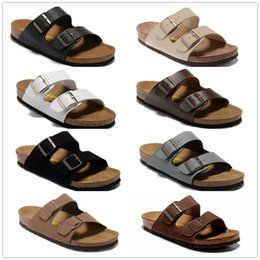 Wholesale Hot Selling Flip Flops - 22 color Arizona Hot sell summer Men Women flats sandals Cork slippers unisex casual shoes print mixed colors flip flop size 34-46