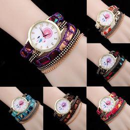 Wholesale black rivet watch - 2016 New Women's Casual Vintage Multilayer Wristwatch Weave Wrap Rivet Leather Bracelet Wrist Watch 6 colors Wholesale Free shipping