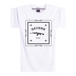 Wholesale Tshirt Logos Wholesale - Wholesale-Letters Defend Paris Cotton Short Sleeve Men T Shirt Luxury Brand 2016 White Tshirt Loose Funny T-Shirt Logo in Tops and Tees