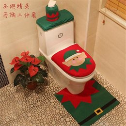 Wholesale Decoration Pieces Pots - Christmas Toilet Seat Cushion Snowman Chamber Pot Covers Bathroom Closestool Floor Rug Tissue Cover Sets As Christmas Decoration