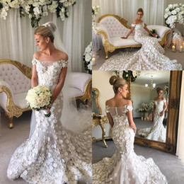 Wholesale Tulle Flower Petals - Gorgeous Off The Shoulder Mermaid Wedding Dresses Long Petals Handmade Appliques Long Wedding Dress Sheer Back Covered Buttons Bridal Gowns