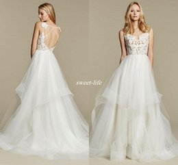 Wholesale Tulle Wedding Dress Spaghetti Straps - Hayley Paige Summer Wedding Dresses Tulle Skirts Backless Sheer Lace Spaghetti 2016 New Design Cheap Sexy Bohemia Bridal Gowns Custom Made