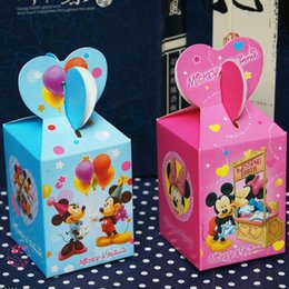Wholesale Wood Printed Paper - 100 x Cartoon Mickey mouse Baby Shower Favors Box Candy Gift Box Birthday Party Decorations Boy Girl Kids Event & Party Supplies