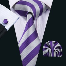 Wholesale Silk Strips - Clasic Silk Men Ties Purple Tie Sets Strips Mens Neck Tie Tie Hanky Cufflinks Sets Jacquard Woven Meeting Business Wedding Party N-1513