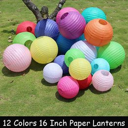 Wholesale Chinese Lantern Paper Yellow - 10pc 16Inch 40cm Chinese Paper Lantern Red White Pink Blue Purple Yellow Green Orange Red For Wedding Party Birthday Decoration